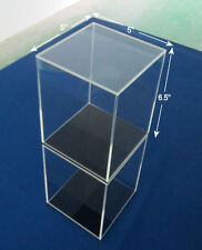"Acrylic Display Case Clear Box Plastic Base Dustproof Figure 6.5"" H X 5"" W"