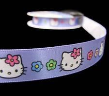 "5 Yds Hello Kitty Purple Offray Satin Ribbon 5/8""W"