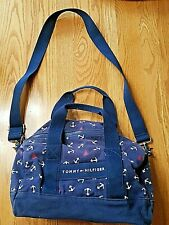 Tommy Hilfiger Red White Blue Canvas Shoulder Tote Overnight Anchors Nautical