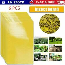 6X Yellow Sticky Glue paper Insect Trap Catcher Killer Fly Aphids Wasp New UK