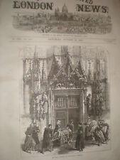 Franco Prussian war door way of Strasbourg cathedral  France 1870 print