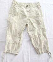 Calvin Klein Womens Pants Cotton Cropped Capri Sz 14 Beige Casual Drawstring Leg
