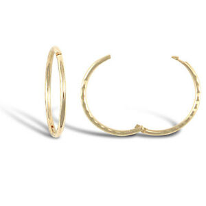 9CT YELLOW GOLD DIAMOND CUT 14MM HINGED SLEEPER EARRINGS Erin Rose Jewellery Co