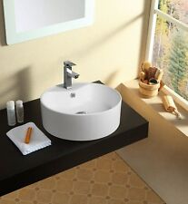 Modern Bathroom Counter Top Ceramic White Basin Cloakroom Gloss Wash Sink
