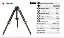 SunwayFoto T1A20 2 Sections Aluminum Tripod, 25kg Capacity, 46cm Max Height