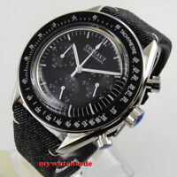 40mm corgeut black dial steel 24 hours quartz full chronograph mens watch C176