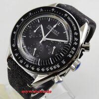40mm corgeut black dial steel 24 hours quartz full chronograph mens watch C176