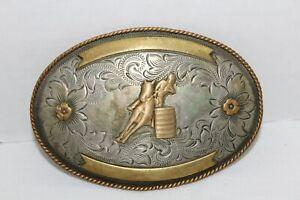 Vintage~MONTANA SILVERSMITH~German Silver~BELT BUCKLE~Rodeo~BARREL RACER~Women's