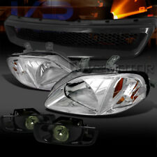 For 99-00 Civic Crystal Chrome Headlights+Smoke Fog Lamps+Mesh Grille
