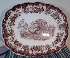 "Large Copeland Spode Turkey Serving Platter Brown Transfer 19.25"""