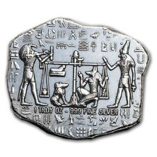 Old World Style Egyptian God Anubis Jackal 1 oz .999 Silver Antiqued USA Bar