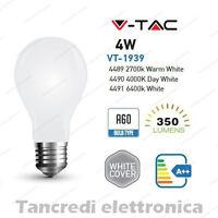 Lampadina led V-TAC 4W E27 VT-1939 A60 cover bianca filamento lampada opaca bulb