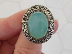 Sajen Sterling Silver Green India Emerald Faceted Quartz Designer Ring Size 9.5