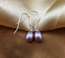 Classic New 7-8MM Natural Purple Freshwater Pearl 925 Sterling silver Earrings