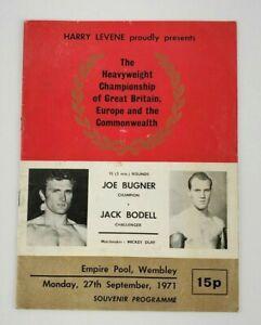 VTG 1971 Official Boxing Program Joe Bugner Vs. Jack Bodell Heavyweight Champ