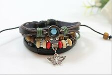 Latest fashion cool multilayer leather wristband bracelet unisex Butterfly Charm