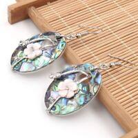 Oval Genuine Abalone Shell Flower Carved Shell Gems Silver Dangle Hook Earrings