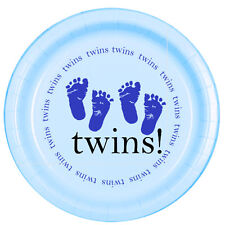 Blue Baby Boy Shower Party TWINS! FOOTPRINTS LUNCH DINNER PLATES
