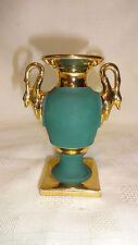 Vintage Limoges Authentique 9.5cm Urn Vase - Jade With Gold Gilding