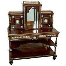 Fabulous Early 19th C. Burled Walnut & Bronze Mounted 2-Piece Writing Desk #6149