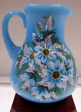 Fenton PITCHER Sky Blue w AQUA, WHITE & Pale Lavender FLORAL FREE USA SHIP OOAK