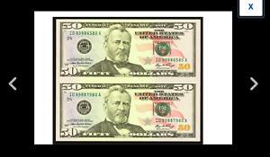 HOLIDAY GIFT UNCUT  FIFTIES $50 2006 Federal Reserve  Uncut Pair. Gem Crisp Unc.