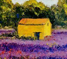 Karin Schlüter-Billings (1937) Gemälde 2010: EINSAME HÜTTE IM BLÜHENDEN LAVENDEL