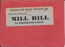 MILL HILL VIA PORTSMOUTH - RAILWAY LUGGAGE LABEL - LONDON & SOUTH WEST