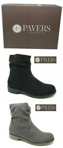 LADIES NEW PAVERS ANKLE ZIP BOOTS BLACK GREY FAUX SUEDE SIZE 3 - 8 RRP £54.99
