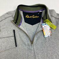 New Robert Graham Elliot Pullover Sweatshirt Men's Size L 1/4 Zip Classic Fit