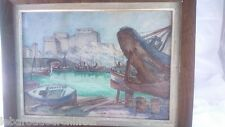 peinture aquarelle Marseille bassin de carenage