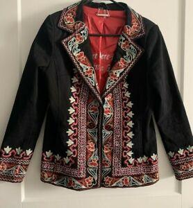 Paparazzi by Biz Black Blazer Embroidered Geometric Floral Boho Jacket Lined Med