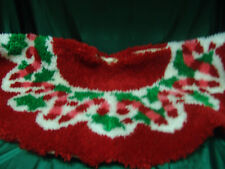 Vintage Hand Made Latch Hooked Tree Skirt 38 Inch Candy Canes/Holly Leaves