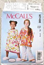 7496 McCALLS SEWING PATTERN~UNCUT~GIRLS SIZES 6-8~NIGHTGOWN&PAJAMAS:TOP+PANTS