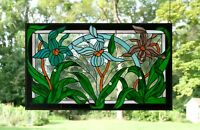 "34.75"" x 20.5"" Handcrafted stained glass window panel Iris Lady Slipper Orchids"