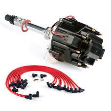 Chevy SBC 283 305 327 350 400 HEI Black Distributor with Spark Plug Wires Kit