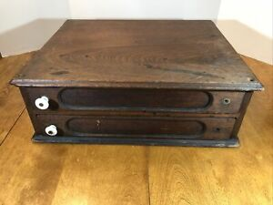 ANTIQUE Walnut? ORIGINAL COUNTRY STORE WOOD COUNTER TOP SPOOL CABINET 2 DRAWER
