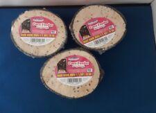3 X WILD BIRD FOOD SUET COCONUT HALVES FEEDERS BERRY RECIPE