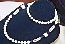 WHITE  Black CORAL Amethyst BEAD  8-10mm  HAWAIIAN ROUND NECKLACE 30""