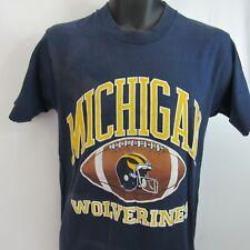Vintage Michigan Wolverines T-Shirt M Screen Stars Best 50/50 Single Stitch Blue