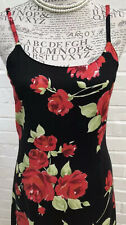 Vintage Laura Ashley Maxi Dress UK 10 8 Black Red Rose Summer Party