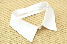False White Pointed Flat Collar Faux Polyester Decorative Detachable Removable