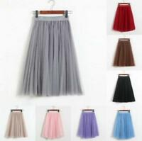 3 Layers Tulle Tutu Women Pleated Midi Skirt High Waist Petticoat Underskirt sz