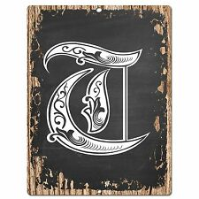PP0491 Alphabet Initial Name Letter T Chic Sign Bar Shop Store Home Room Decor