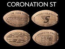 Allongé coin pressed penny Coronation St UK Pennies retraité machines