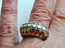 RETIRED JOHN HARDY  LARGE 18K GOLD/STERLING SILVER DOT  RING