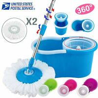 360° Easy Clean Floor Mop Bucket 2 Heads Microfiber Spin Rotating Head 4 Color