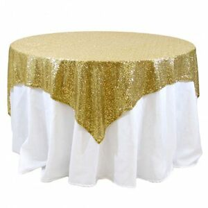 "Sequin Overlay 60"" × 60"" Sparkly Shiny Tablecloth Design 4 COLORS WEDDING Party"
