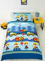 Rapport Kidz Blue Men At Work Trucks Construction Boys Duvet Set Single