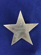 "Sterling Silver Star-Shaped Badge Pin stamped ""Responsible Adult"""